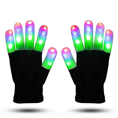 Light Gloves - Finger Light Flashing LED Gloves Warm with Flashing Lights and 6 Different Modes for Men Women & Kids, Holiday Christmas Gifts Ideas and Gloves with Lights Birthday Light Show Party