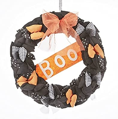 """Delton Products Halloween Wreath 12"""" BOO Orange and Black Fabric and Wood"""