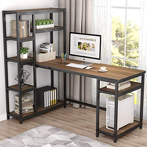 "Tribesigns 67"" Reversible Large Computer Desk with 9 Storage Shelves, Office Desk Study Table Writing Desk Workstation with Hutch Bookshelf for Home Office, Rustic Oak"