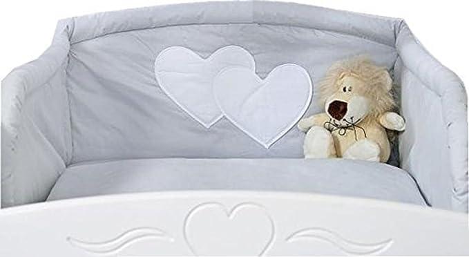 Tour de lit bébé - 120*60 ou 140*70 – gris à coeurs: Amazon ...