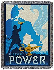 "Disney's Aladdin, ""Unleash The Power"" Metallic Woven Tapestry Throw Blanket, 48"""