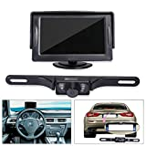 "Automotive : Noiposi Backup Camera and Monitor kit for Car Universal Waterproof Night Vision Linsence Plate Rear view Camera and 4.3"" TFT LCD Rear view Monitor"