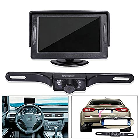 "Noiposi Backup Camera and Monitor kit for Car Universal Waterproof Night Vision Linsence Plate Rear view Camera and 4.3"" TFT LCD Rear view - Rear View Backup Camera System"