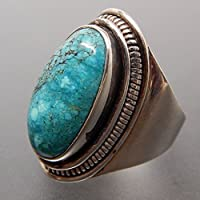 Promsup Fashion 925 Silver Large Turquoise Gemstone Ring Wedding Women Men Jewelry 6-10 (10)