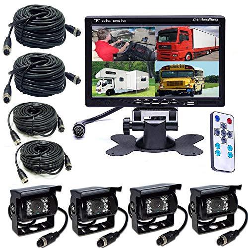 Vehicle Backup Cameras Monitor kit 4 Pin System 12V/24V,4x Car Reverse Rear View Camera 18 LED + 7