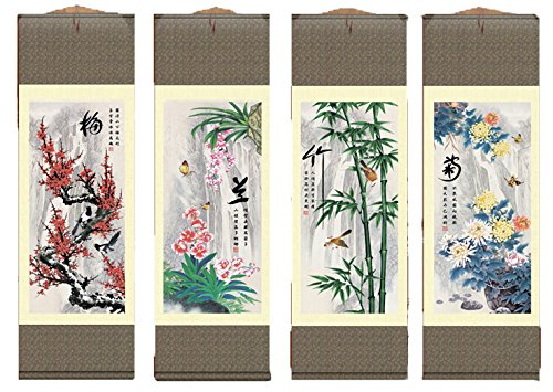 Grace Art Asian Wall Scroll, Set of 4, Plum Blossom, Orchid, Bamboo, and - Blossom 4 Bar