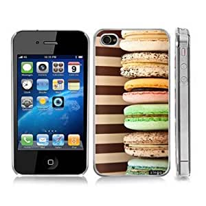 Macaroons Dessert Treat Snap-On Cover Hard Carrying Case for iPhone 4/4S (Clear)