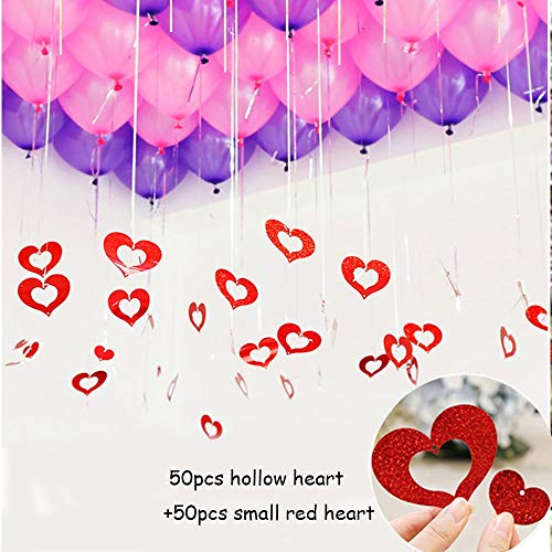 100 Pack Red Heart Shaped Hanging Valentines Day Decorations, Silver Foil Fringe Tassel Curtain & Red Bling Foil Heart Shape Cutouts Hanging for Birthday Wedding Anniversary ()