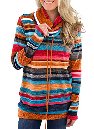 JomeDesign Womens Casual Cowl Neck Striped Top Long Sleeve Sweatshirt with Pockets Orange XX-Large