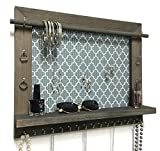 Firwood Forest Jewelry Organizer, Large Handmade Wood Frame Wall Hanging Display with Shelf