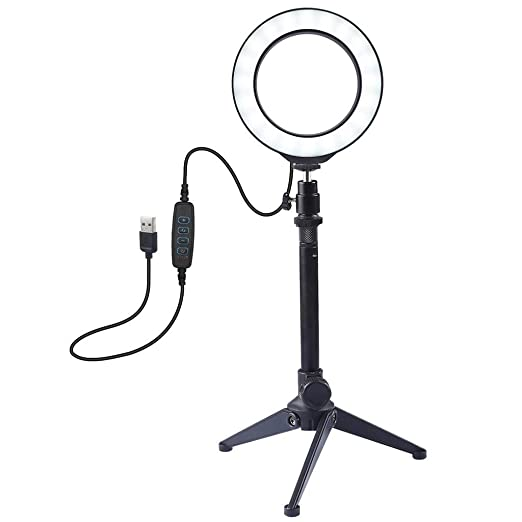Color : Pink WEIHONG Accessory 6.2 inch USB 3 Modes Dimmable LED Ring On-Camera Video Lights with Cold Shoe Tripod Ball Head WEIHONG