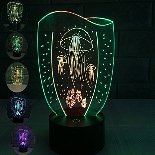 Alotm Table Lamp 3D Jellyfish Lamp Touch Control 7 Colors Changing Night Light USB Battery Operated Light for Home Decoration Magic Mood Lamp for - Outlet Charleston In