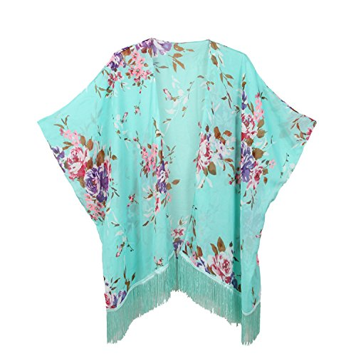 Women's Floral Kimono Cover Up - Lightweight Leopard Chiffon Beachwear for Bikini,Cardigan and Swimwear