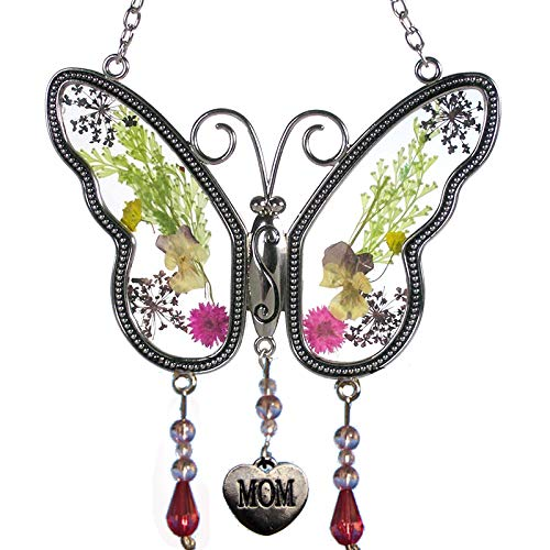 (Mom Butterfly Suncatchers Stained Glass Mother Suncatchers with Pressed Flower Wings Embedded in Glass with Metal Trim Mom Heart Charm - Gifts for Mom -Mom for Birthdays Christmas Color Gift)