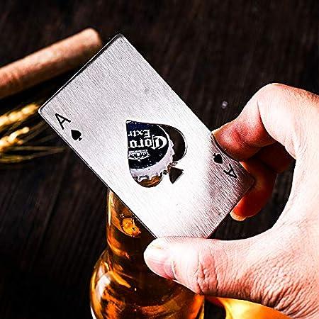 CHUN LING Juego de 2 Piezas en Negro y Plata, práctico sacacorchos para Vino, Estilo Interesante, sacacorchos para Botella de Cerveza con Pala, Grabado en Tarjeta de crédito de Acero Inoxidable