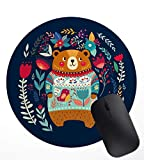 Cute Bear Likes to Spend with Flowers Funny Artistic Cool Image,Non-Slip Rubber Mouse Pad Mat