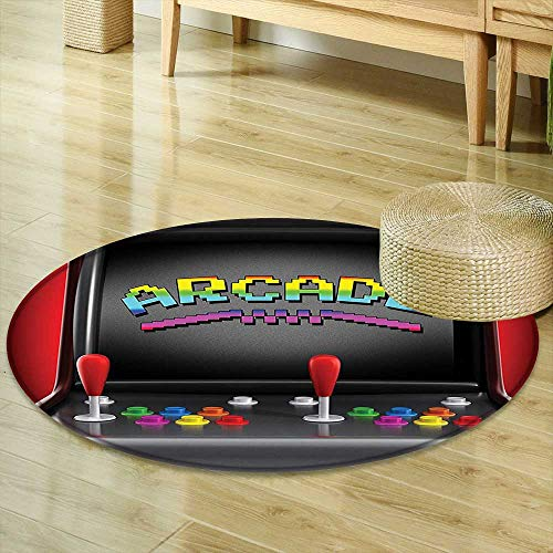 Round Rug Kid Carpet Video Games Arcade Machine Retro Gaming Fun Joystick Buttons Vintage 80s 90s Electronic Multicolor Home Decor Foor Carpe R-35 ()