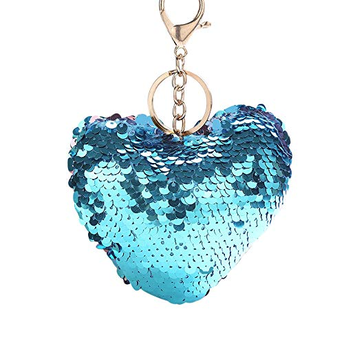 (Suppion Key Chain,Fashion Star Sequin Keychain Key Ring Heart-Shaped Sequin Pendant Gift Keychain)