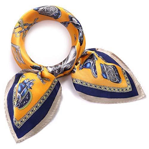 SILIQUE Luxury Mulberry Silk scarfs for Women, Small Scarves for Neck, Silk Neckerchief Women, Yellow Scarves Small, Horse Print Neck scarf
