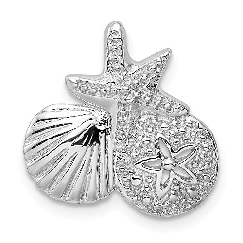 925 Sterling Silver Sealife Slide Necklace Pendant Charm Sea Shore Shell Fine Jewelry Gifts For Women For Her