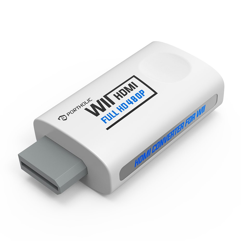 PORTHOLIC Wii to HDMI Converter for Full HD Device, Wii HDMI Adapter with 3,5mm Audio Jack&HDMI Output Compatible with Nintendo Wii,Wii U,HDTV,Monitor-Supports All Wii Display Modes 480P,NTSC 480I