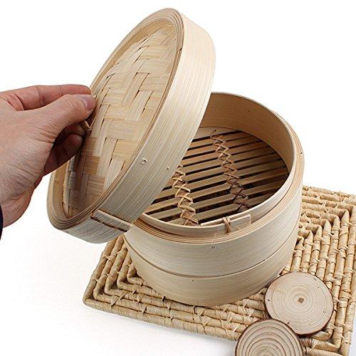 2 Tier Bamboo Steamer Dim Sum Basket Rice Pasta Cooker accessgood