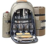 One Earth Home 4 Person Picnic Backpack with Solid Stainless Steel Utensils, Oversized Water Resistant Fleece Blanket, Cooler Compartment, Detachable Wine Bottle Holder in a Modern Designed Backpack