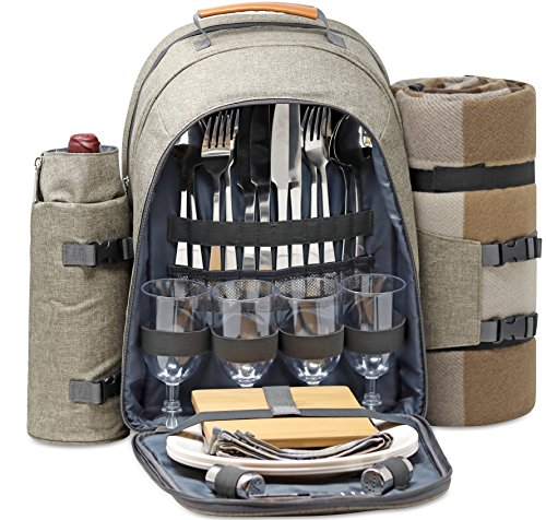 Cheap  4 Person Picnic Backpack With SOLID Stainless Steel Utensils, Oversized Water Resistant..