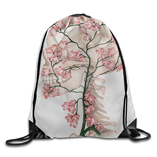 - Flower Skull Unisex Home Rucksack Shoulder Bag Travel Drawstring Backpack Bag