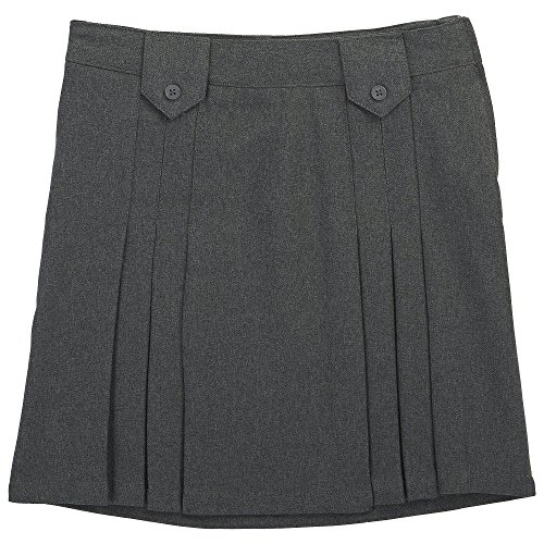 French Toast Big Girls' Front Pleated Skirt with Tabs, Grey, 8 ()
