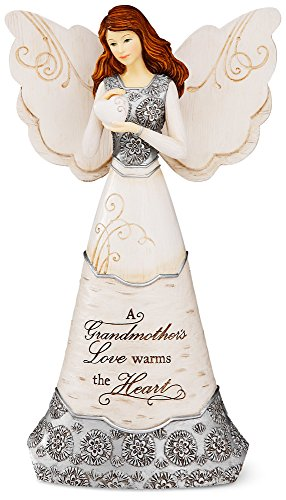 Elements Grandmother Angel Figurine by Pavilion, 8-Inch, Holding Heart, Inscription a Grandmother's Love Warms The - Heart Figurine Holding