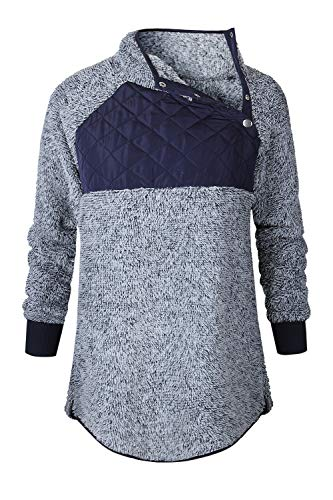 Warm Block Femmes Pulls Sweat Mupoduvos Hiver Bleu Lapel Color IXxSBw