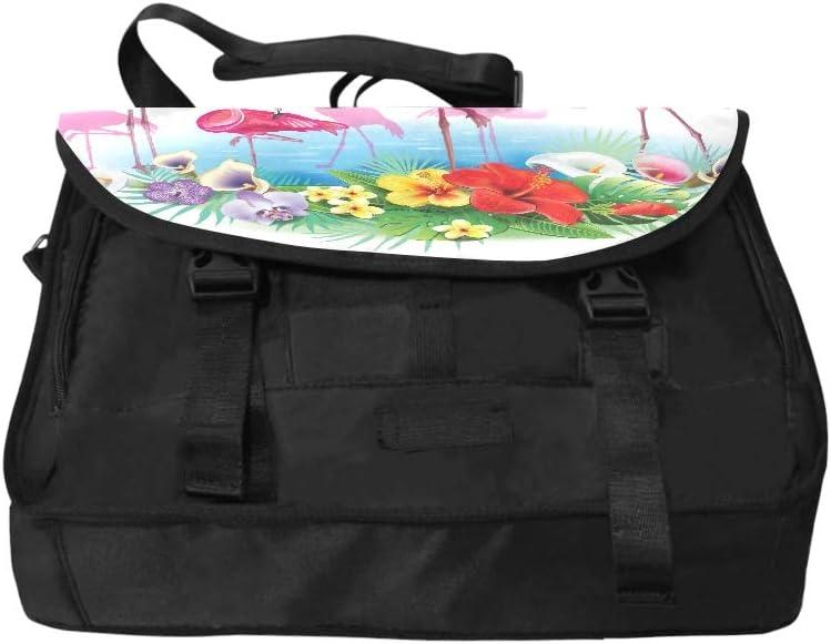 Ladies Laptop Briefcase Flamingoes Arrangement Tropical Flowers Multi-Functional Laptop Briefcase Bag Fit for 15 Inch Computer Notebook MacBook