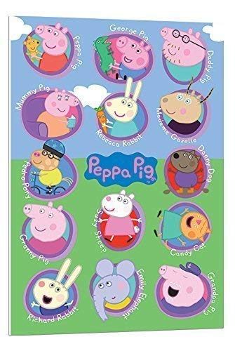 Peppa Pig Multi Personajes Póster de flotador montado - 90 x 60 cms (aprox 36 x 24 inches): Amazon.es: Hogar
