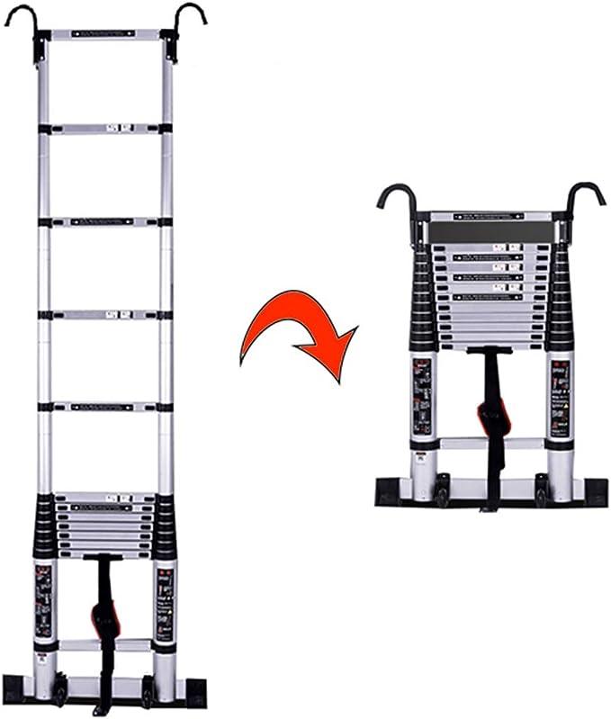 Escalera extensible Escalera telescópica Escalera telescópica con ganchos / ruedas / barra estabilizadora - Escalera de aluminio liviana. Pasos for trabajos de bricolaje for uso en interiores y al air: Amazon.es: Hogar