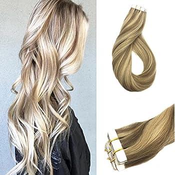 "Googoo Remy Hair Extensions Tape in Hair Extensions Highlighted Blonde Glue in Hair Extensions Ash Blonde mixed Gloden Blonde Hair Extensions 20pcs/50g 20"""