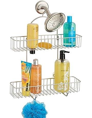 mDesign Repisas para baño sin taladros – Organizador de baño de metal  resistente para champú 7eba63cde102