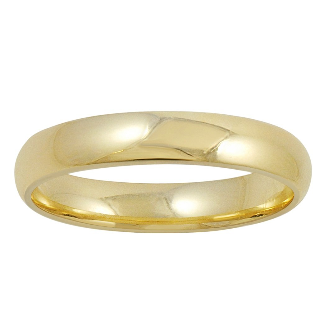 Men's 14K Yellow Gold 4mm Comfort Fit Plain Wedding Band (Available Ring Sizes 8-12 1/2) Size 8 by Oxford Ivy (Image #2)