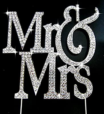 Real Rhinestone Silver Mr & Mrs Block Cake Topper Wedding & Special Events