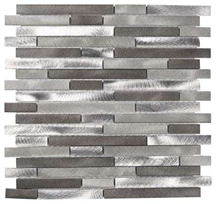 MOSAÏQUE CARREAUX EN VERRE GRIS MARRON FILET 30 X 30 CM ...