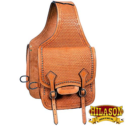 HILASON Horse Western Saddle Bag Leather Cowboy Trail Ride Light Oil