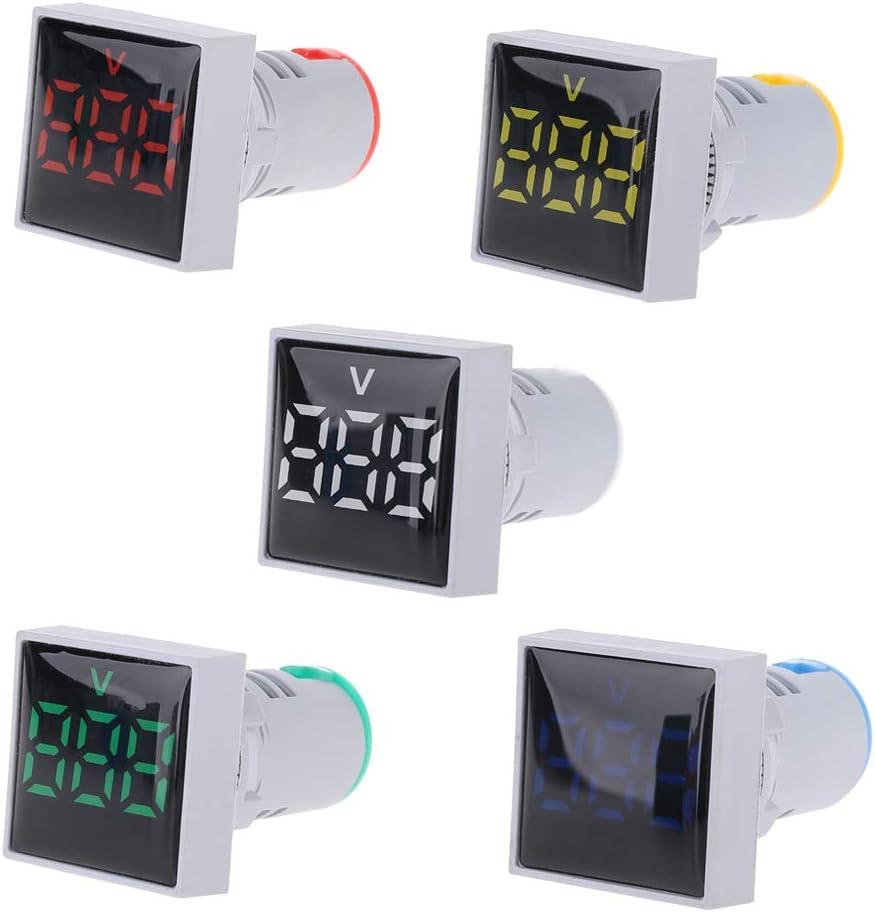 Voltmetro digitale con indicatore luminoso Meatyhjk AD16 AC 20-500 V bianco 22 mm quadrato