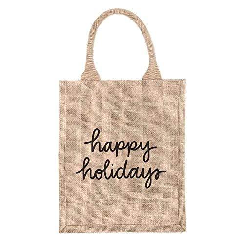 "10"" Reusable Burlap Gift Tote Bag - Happy Holidays (Black Design)"