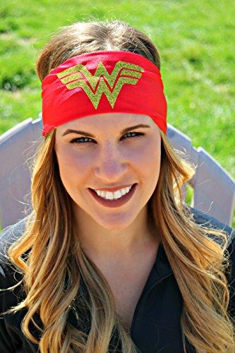 RAVEbandz Exclusive Fashion Headbands (SLOGANZ) Non-Slip Wide Hippie Sports & Athletic Hair Bands for Women and Girls (Wonder Woman (Womens Superheroes)