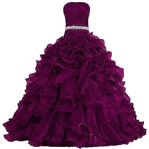 Burgundy Puffy Prom Dress: Amazon.com