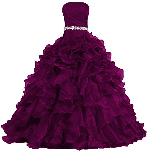 ANTS Women's Pretty Ball Gown Quinceanera Dress Ruffle Prom Dresses Size 10 US Burgundy
