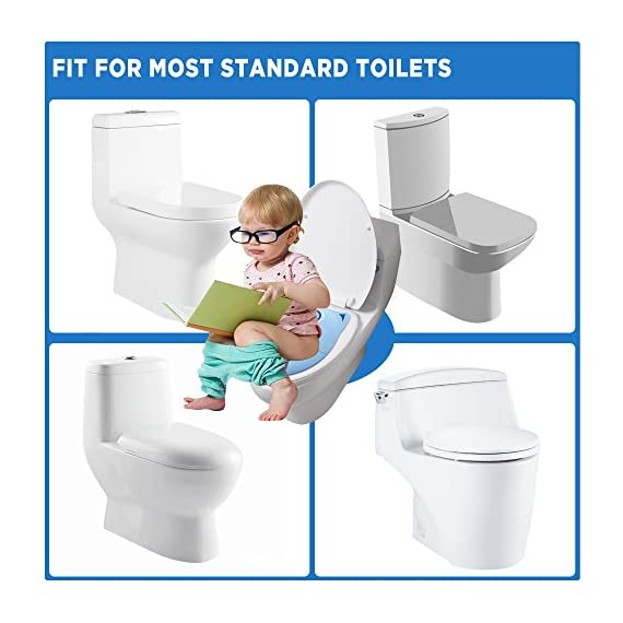 """Gimars Upgrade Large Non Slip Silicone Pads Travel Folding Portable Reusable Toilet Potty Training Seat Covers Liners with Carry Bag for Babies, Toddlers and Kids 4 Upgrade Version 6 pcs Large Nonslip Silicone Pads - Increasing 6 pcs Non Slip padding, not like other suppliers'2 pcs and increase the contact area of friction between the toilet cover and potty training seat, avoiding your babies falling off to the toilet effectively; No Gap to Pinch - Enhance the tightness of joint, more firmly, no gap design solve the problem of pinches bottom. Fits Most standard toilet, helps babies learn how to use toilet bowl in restroom with more confidence when you are out and about Freely switch Foldable To Unfoldable Design - Toilet Seat cover Folds up pretty small size of 7''L x 6''W x 2''H to bring to public restrooms easily and perfect for your children's away-from-home bathroom's needs and compact for """"on the go"""" and traveling; Also can stay Unfoldable 13.5''L x 11 ''W x 1''H, Perfect for every baby potty training everyday use at home"""