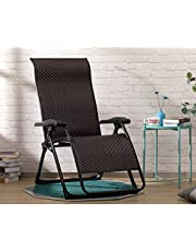 HollyHOME Rattan Folding Zero Gravity Chair with Lock for 500lbs, Indoor&Outdoor Adjustable Recliner with Steel Frame and Widened Armrest, Heavy Duty Lounge Chair for Courtyard, Balcony, Brown