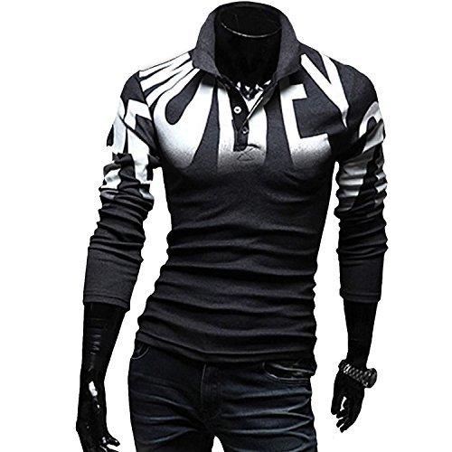 AMBLY ポロシャツ メンズ Tシャツ カットソー 長袖 ロンT ヴィンテージ ゴルフウェア トップス カジュアル コーデ 黒 グレー 春 夏 秋 メンズファッション