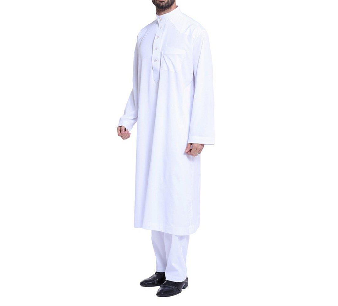 zhxinashu Men's Muslim Thobe Loose Kaftan Dubai Clothing with Pants,White,L